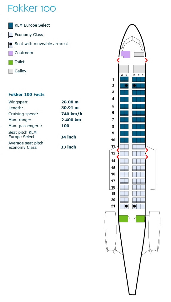 klm royal dutch airlines fokker 100 aircraft seating map