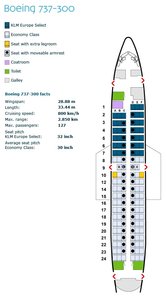 klm royal dutch airlines boeing 737-300 aircraft cabin seating