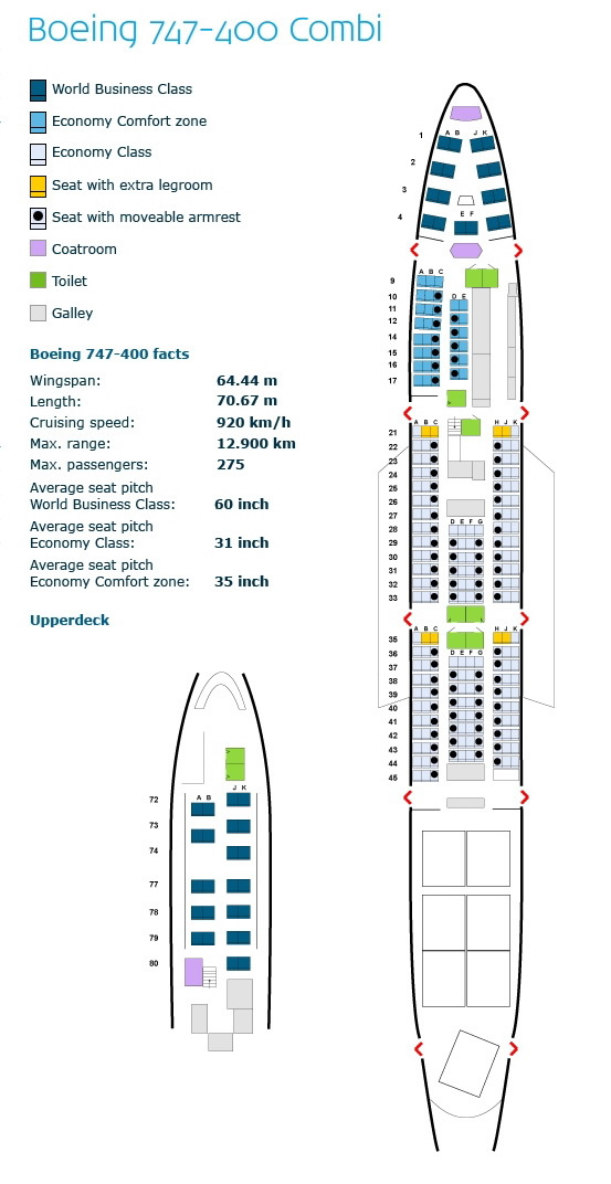 klm royal dutch airlines boeing 747-400combi aircraft seating layout chart