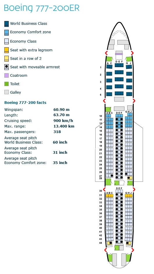 klm royal dutch airlines boeing 777-200er aircraft seating chart