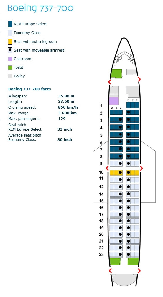 klm royal dutch airlines boeing 737-700 aircraft seating configuration
