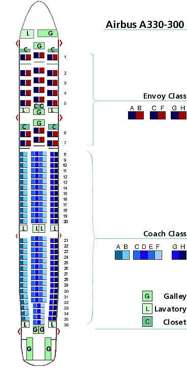 us airways airbus a330-300 seating map aircraft chart