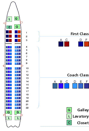 us airways boeing 737-300 jet seating map aircraft chart