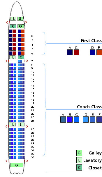 us airways boeing 757-200 jet seating map aircraft chart