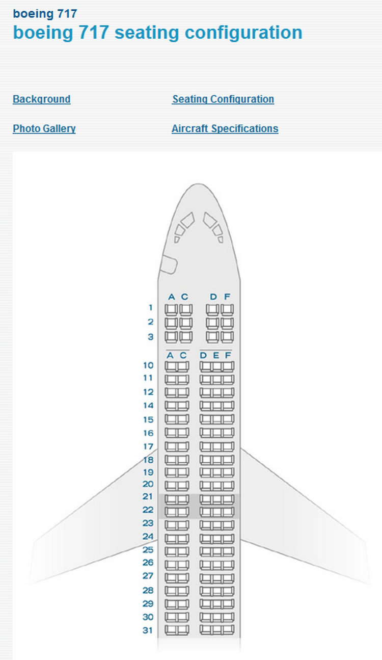 AIR TRAN AIRTRAN AIRLINES BOEING 717 AIRCRAFT SEATING CHART