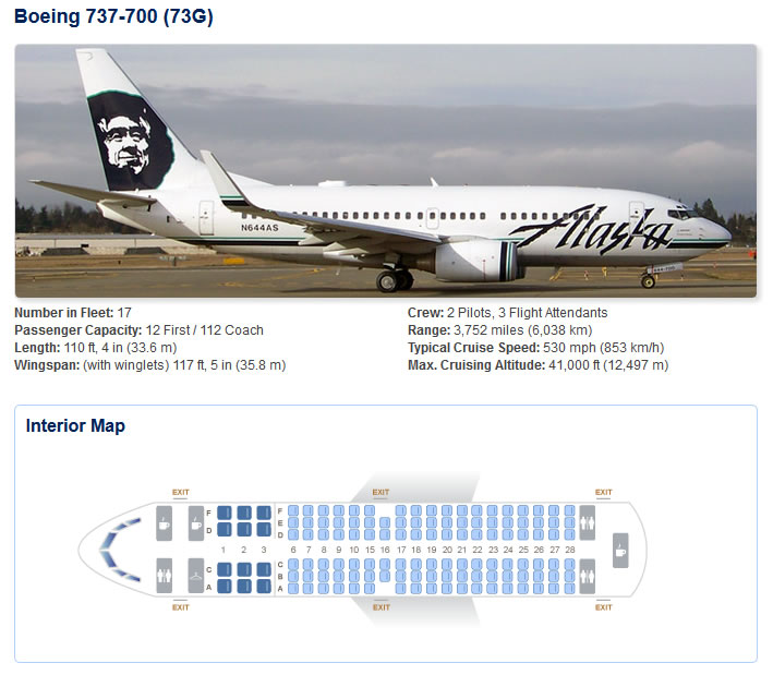ALASKA AIRLINES BOEING 737-700 AIRCRAFT SEATING CHART