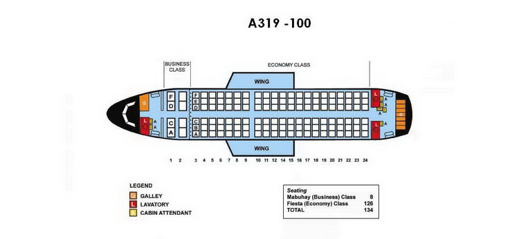 PHILIPPINE AIRLINES AIRBUS A319-100 AIRCRAFT SEATING CHART