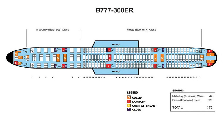 PHILIPPINE AIRLINES BOEING 777-300ER AIRCRAFT SEATING CHART