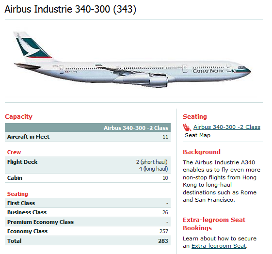CATHAY PACIFIC AIRLINES AIRBUS A340-300 AIRCRAFT SEATING CHART