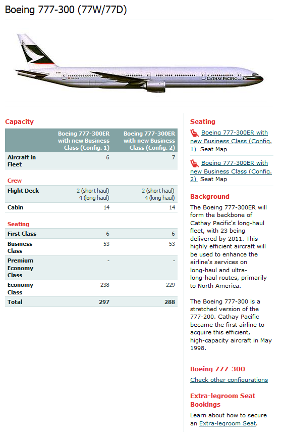 CATHAY PACIFIC AIRLINES BOEING 777-300 AIRCRAFT SEATING CHART