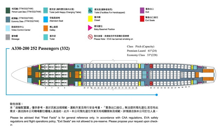 EVA AIR AIRLINES AIRBUS A330-200 AIRCRAFT SEATING CHART