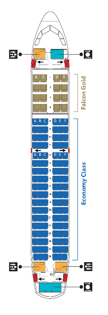 GULF AIR AIRLINES AIRBUS A319 AIRCRAFT SEATING CHART