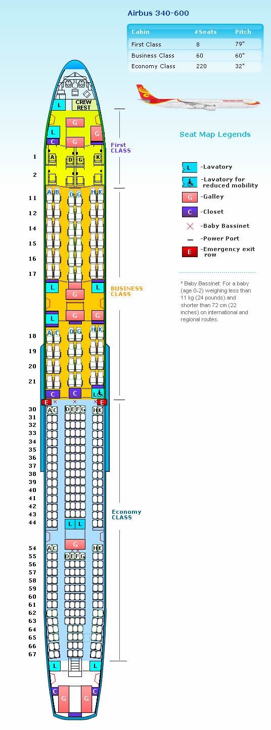 HAINAN AIRLINES AIRBUS A340-600 AIRCRAFT SEATING CHART