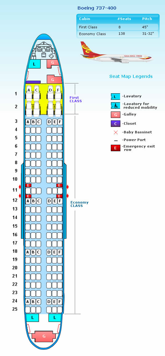 HAINAN AIRLINES BOEING 737-400 AIRCRAFT SEATING CHART