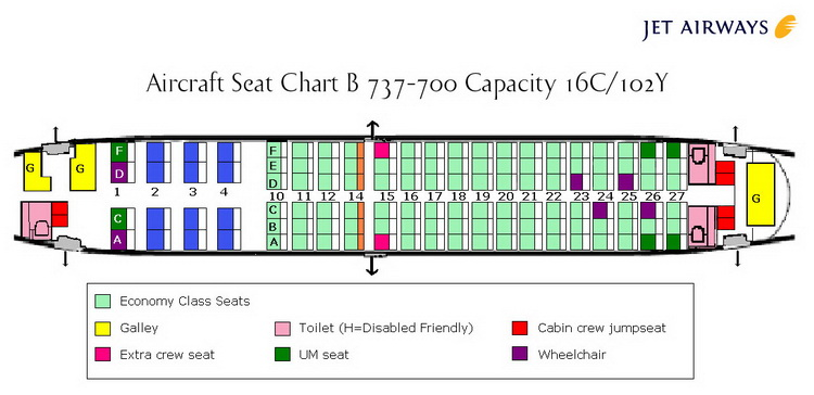 JET AIRWAYS AIRLINES BOEING 737-700 AIRCRAFT SEATING CHART