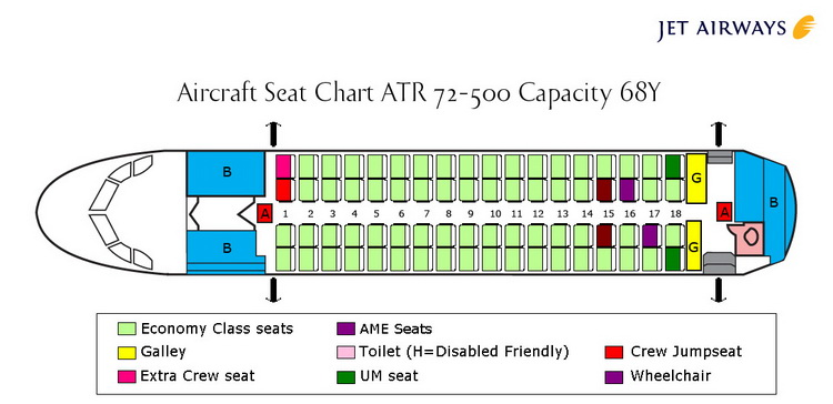 JET AIRWAYS AIRLINES ATR 72-500 AIRCRAFT SEATING CHART
