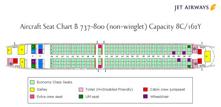 JET AIRWAYS AIRLINES BOEING 737-800 NON WINGLET AIRCRAFT SEATING CHART