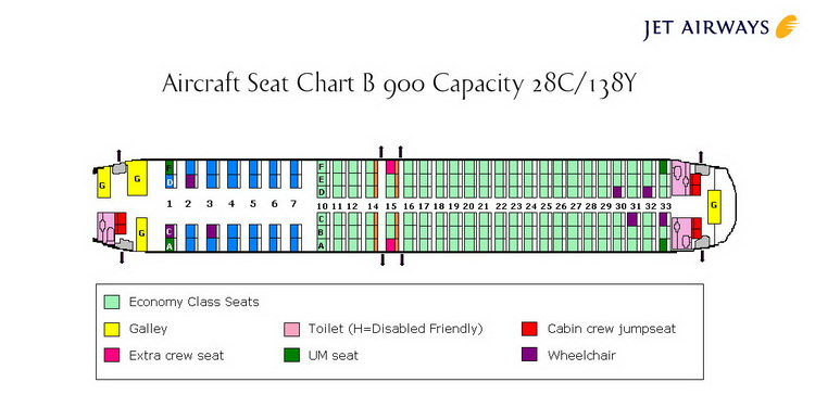 JET AIRWAYS AIRLINES BEECHCRAFT 900 AIRCRAFT SEATING CHART