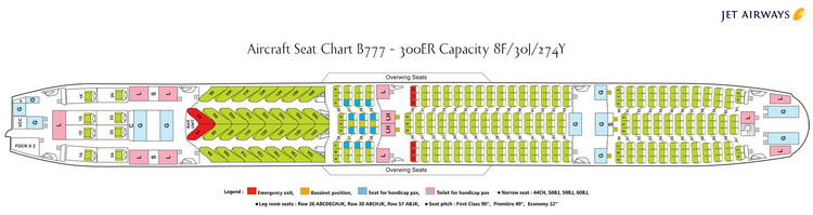 JET AIRWAYS AIRLINES BOEING 777-300ER AIRCRAFT SEATING CHART
