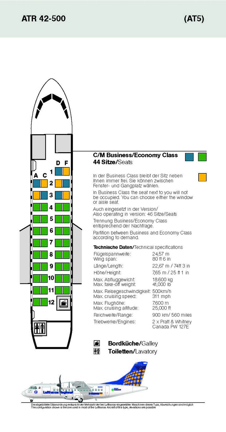 LUFTHANSA AIRLINES ATR 42-500 AIRCRAFT SEATING CHART