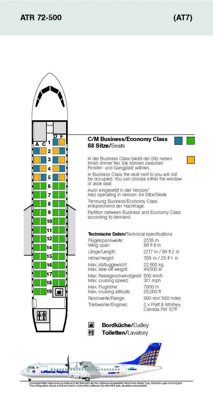 LUFTHANSA AIRLINES ATR 72-500 AIRCRAFT SEATING CHART
