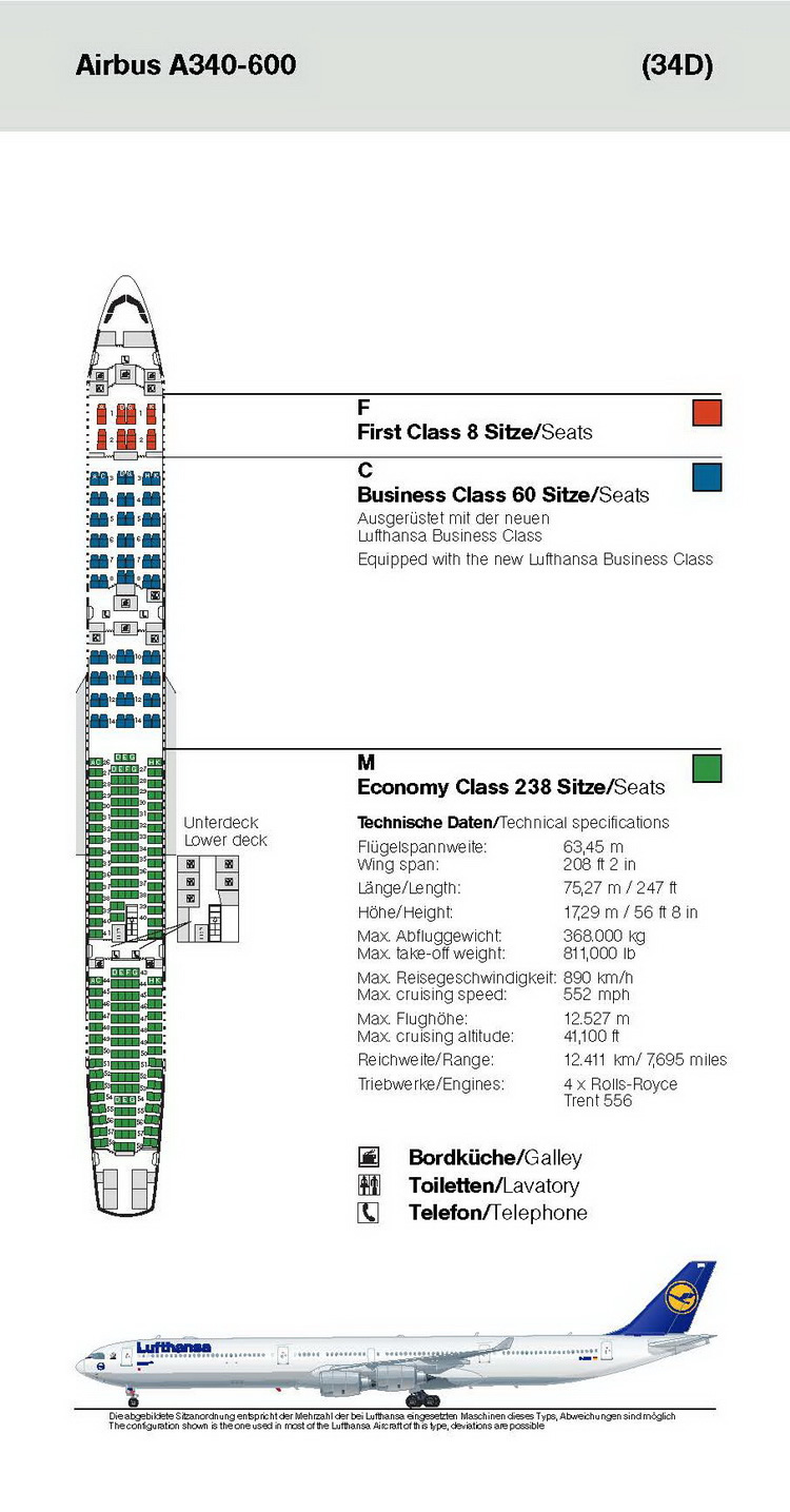LUFTHANSA AIRLINES AIRBUS A340-600 AIRCRAFT SEATING CHART