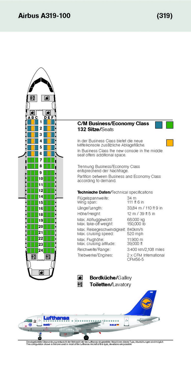 LUFTHANSA AIRLINES AIRBUS A319-100 AIRCRAFT SEATING CHART