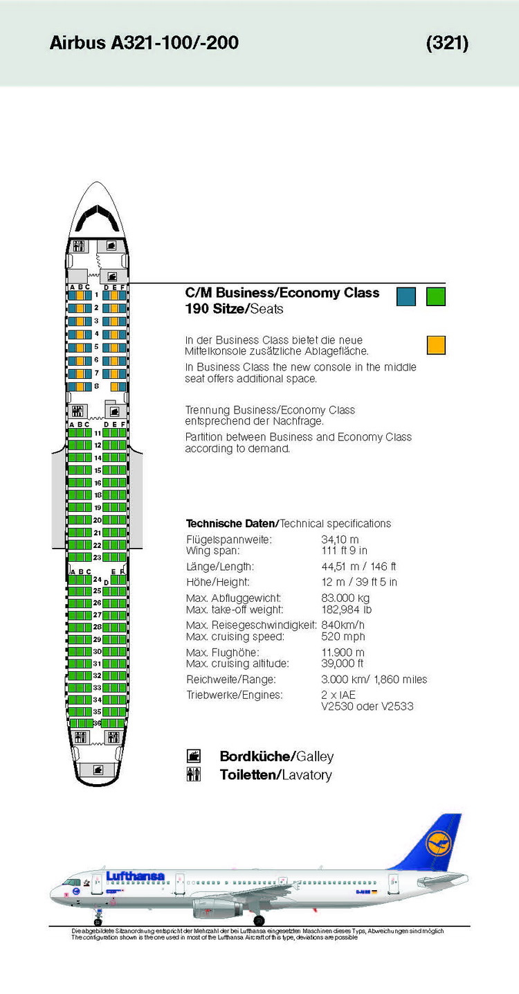 LUFTHANSA AIRLINES AIRBUS A321-100 AIRCRAFT SEATING CHART