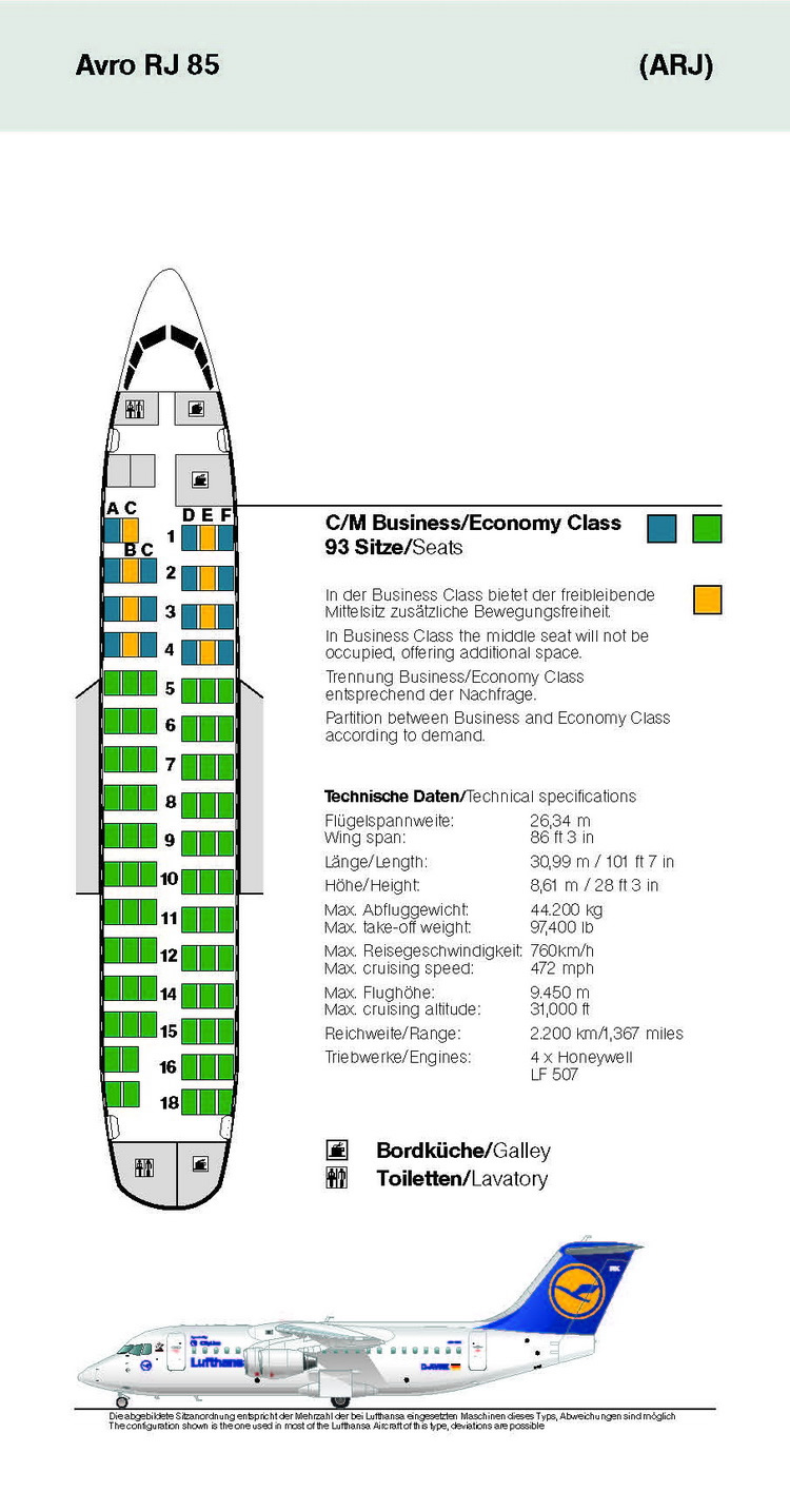 LUFTHANSA AIRLINES AVRO RJ 85 AIRCRAFT SEATING CHART