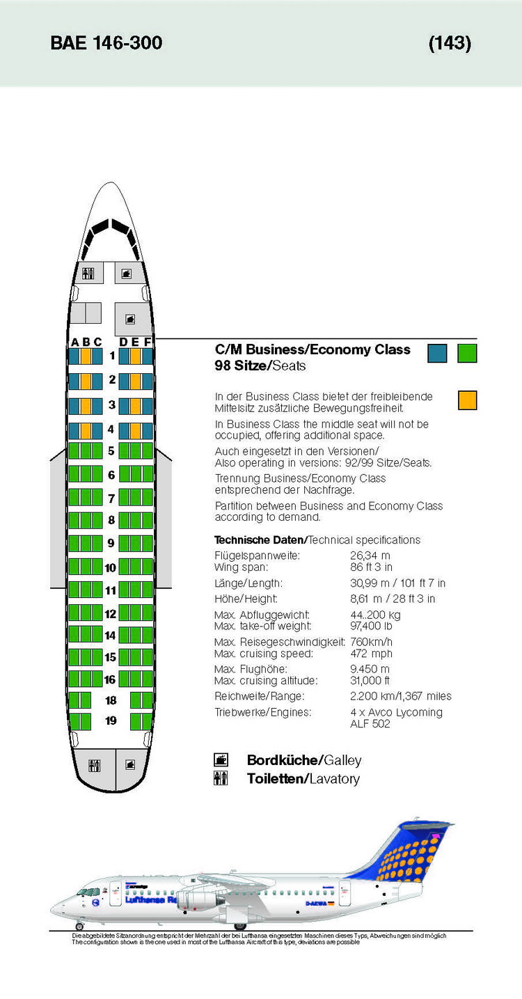 LUFTHANSA AIRLINES BAE 146-300 AIRCRAFT SEATING CHART