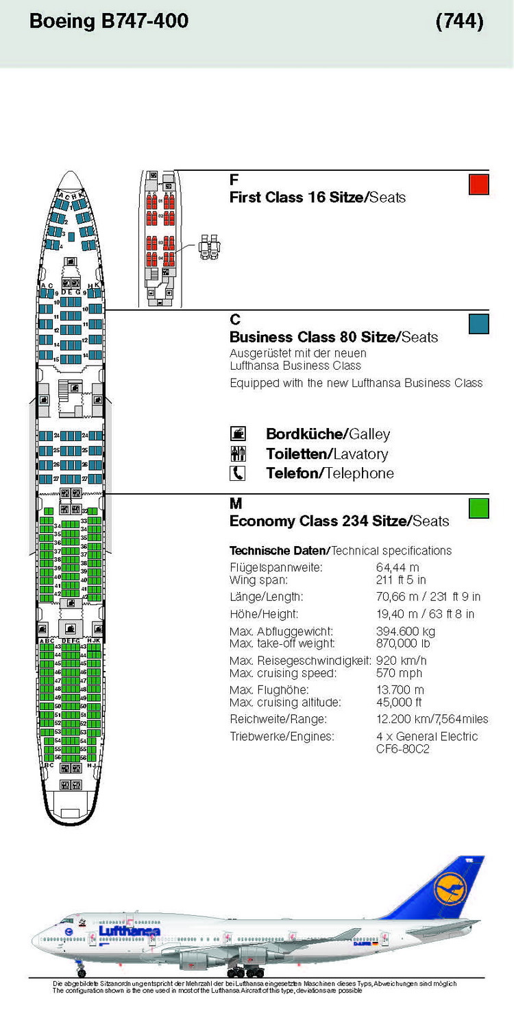 LUFTHANSA AIRLINES BOEING 747-400 AIRCRAFT SEATING CHART