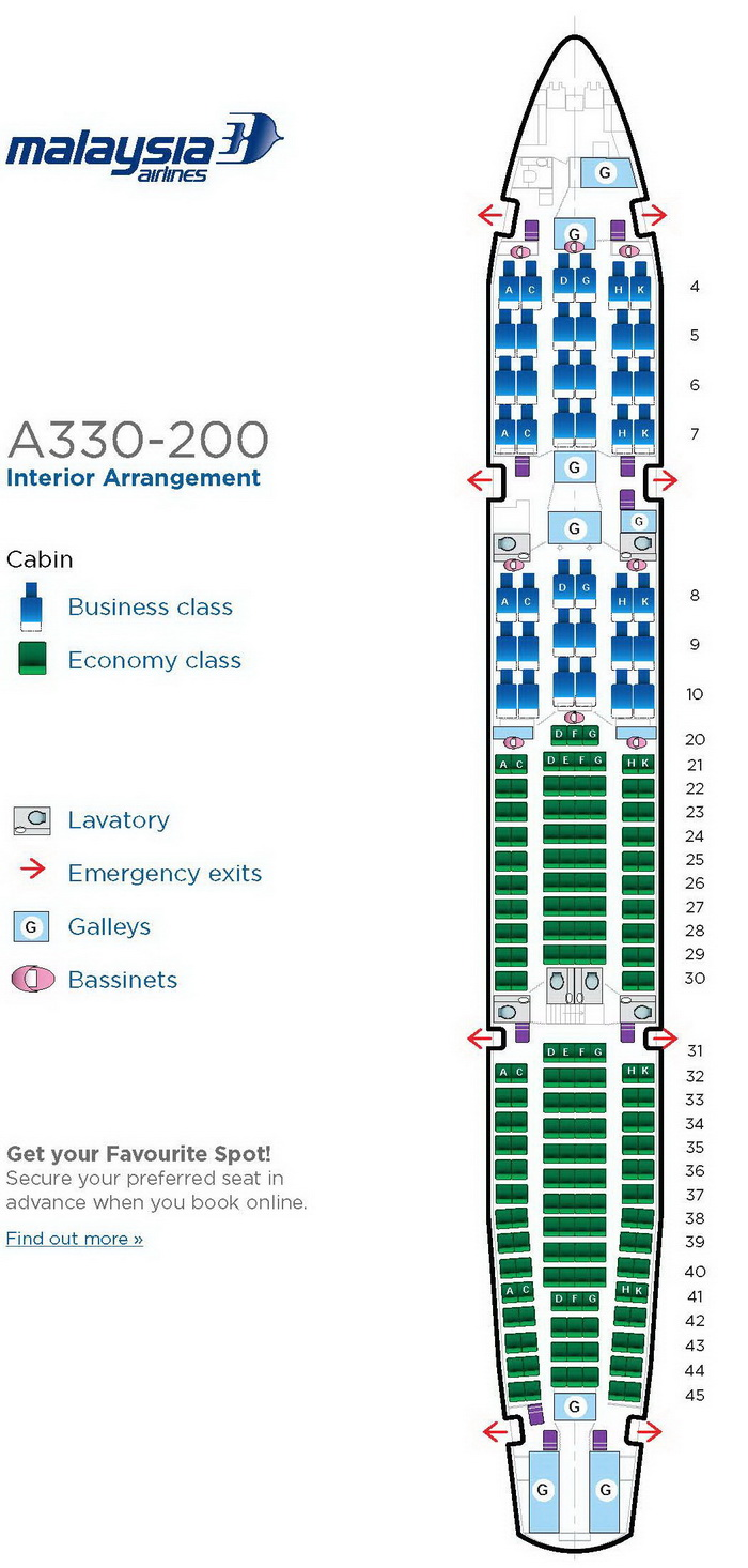 MALAYSIA AIRLINES AIRBUS A330-200 AIRCRAFT SEATING CHART