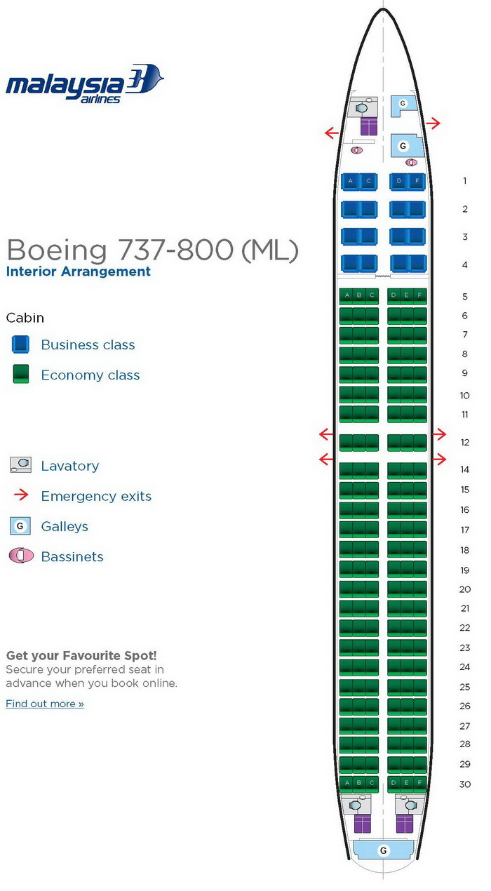 MALAYSIA AIRLINES BOEING 737-800 AIRCRAFT SEATING CHART