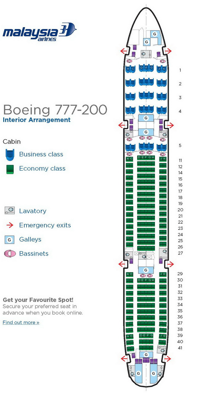 MALAYSIA AIRLINES BOEING 777-200 AIRCRAFT SEATING CHART