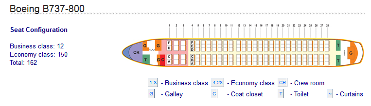 MIAT MONGOLIAN AIRLINES BOEING 737-800 AIRCRAFT SEATING CHART