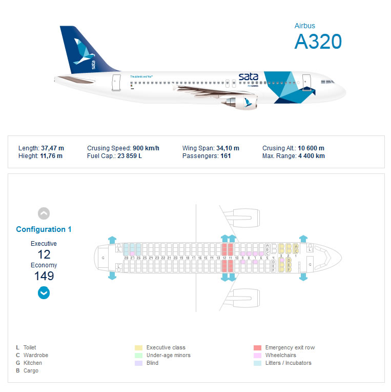 SATA AIRLINES AIRBUS A320 AIRCRAFT SEATING CHART