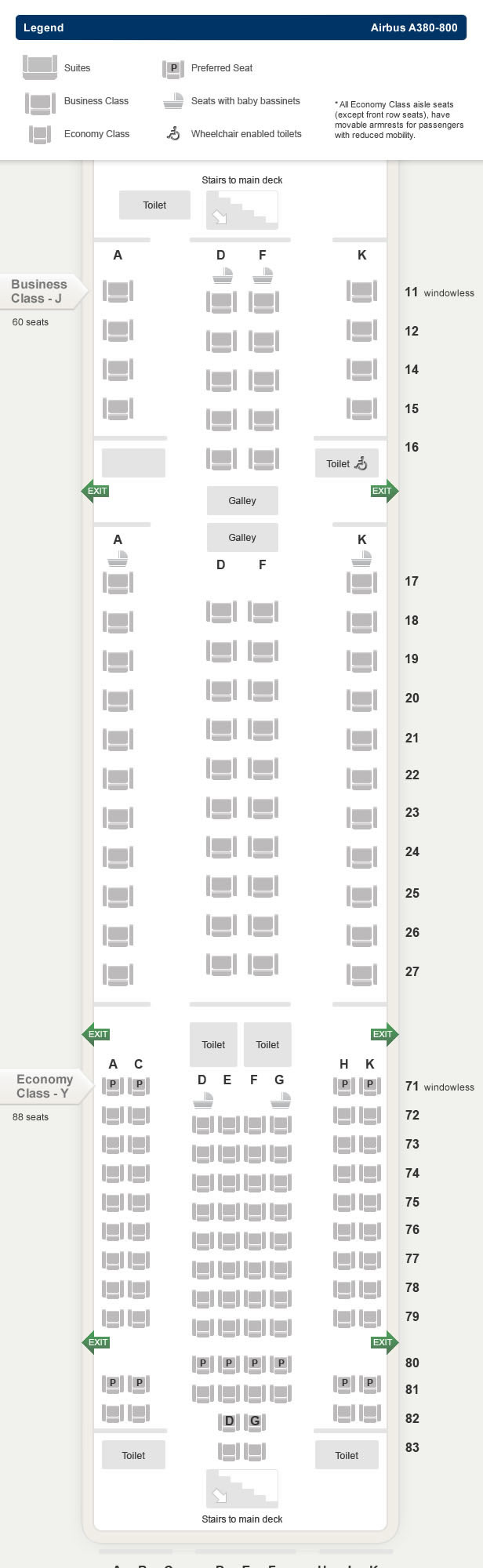 SINGAPORE AIR AIRLINES AIRBUS A380-800 AIRCRAFT SEATING CHART