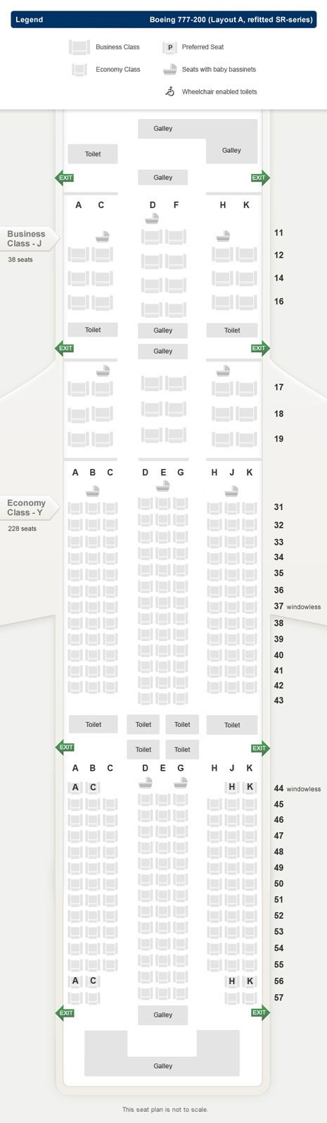 SINGAPORE AIR AIRLINES BOEING 777-200 LAYOUT A REFITTED SR SERIES AIRCRAFT SEATING CHART