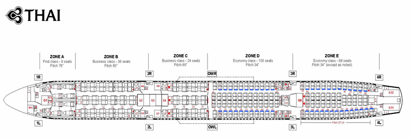 THAI AIRWAYS Airlines Aircraft Seatmaps - Airline Seating ...