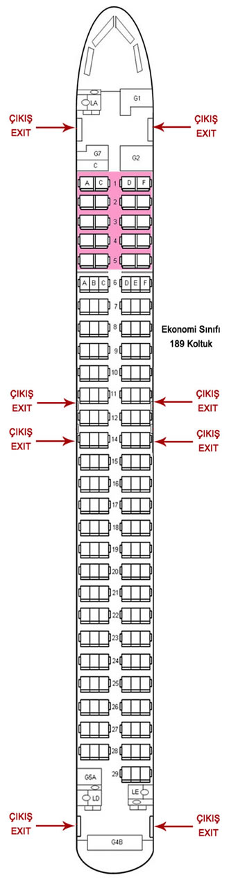 TURKISH AIRLINES BOEING 737-800 AIRCRAFT SEATING CHART