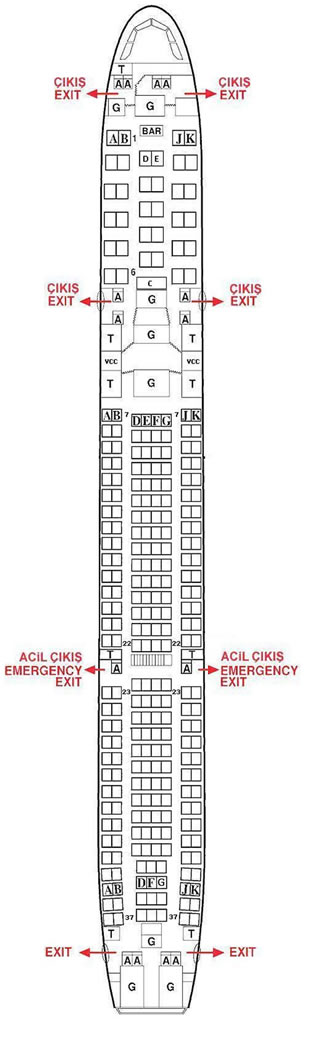 TURKISH AIRLINES AIRBUS A340 AIRCRAFT SEATING CHART