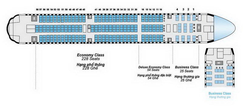 VIETNAM AIRLINES BOEING 777-200ER AIRCRAFT SEATING CHART