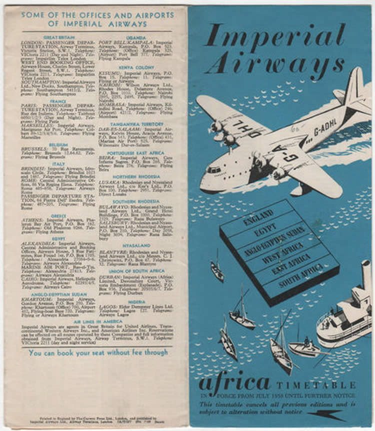 vintage airline timetable for imperial airways
