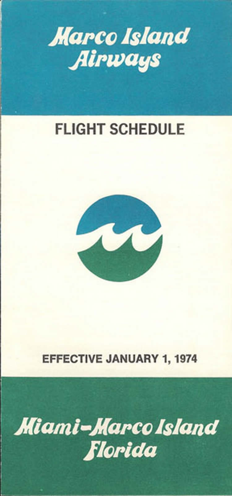vintage airline timetable for Marco Island Airways
