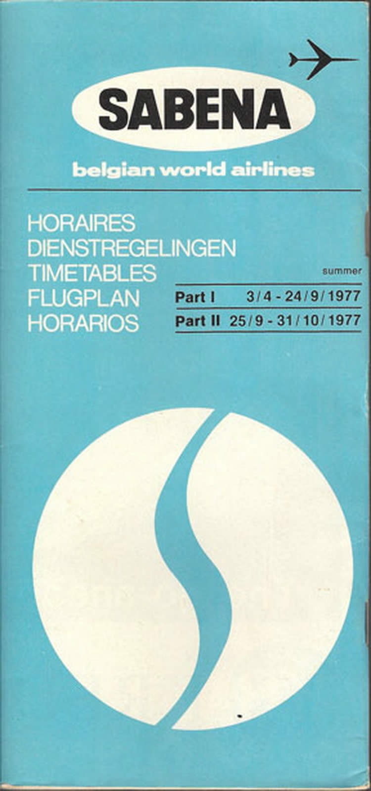 vintage airline timetable for SABENA airlines