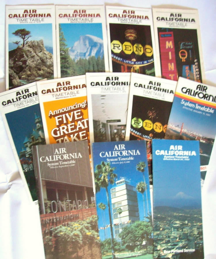 vintage airline timetable for Air California Airlines