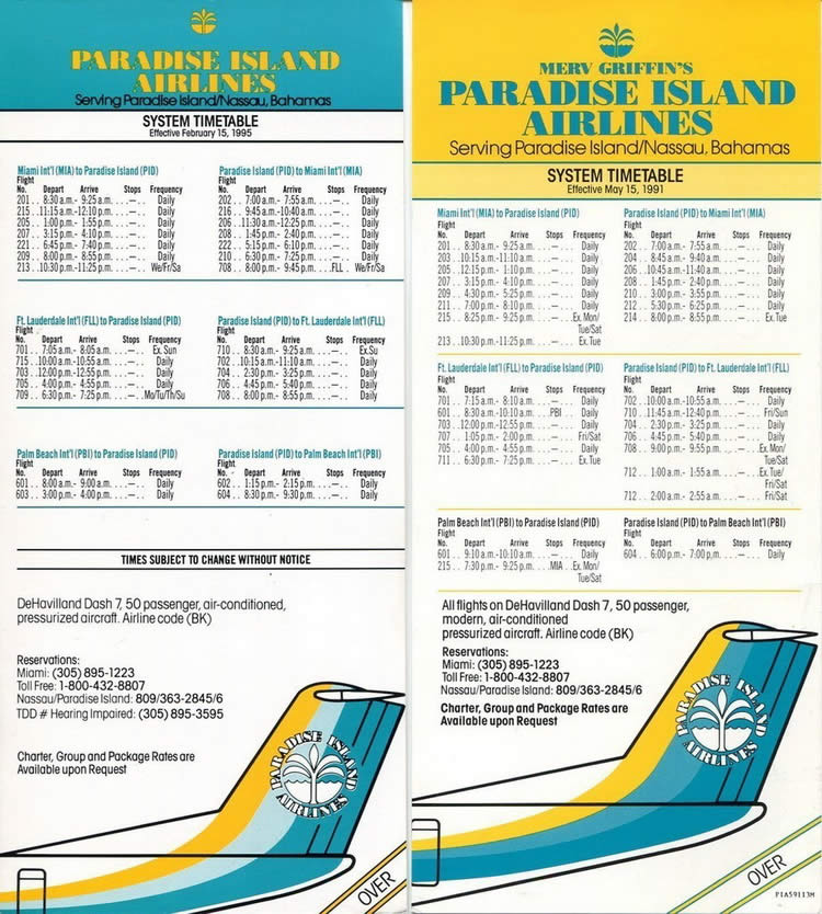 vintage airline timetable for Paradise Island Airlines