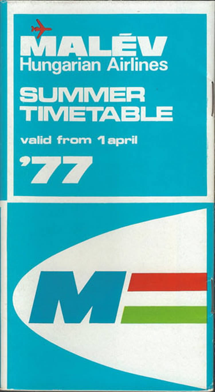 vintage airline timetable for malev