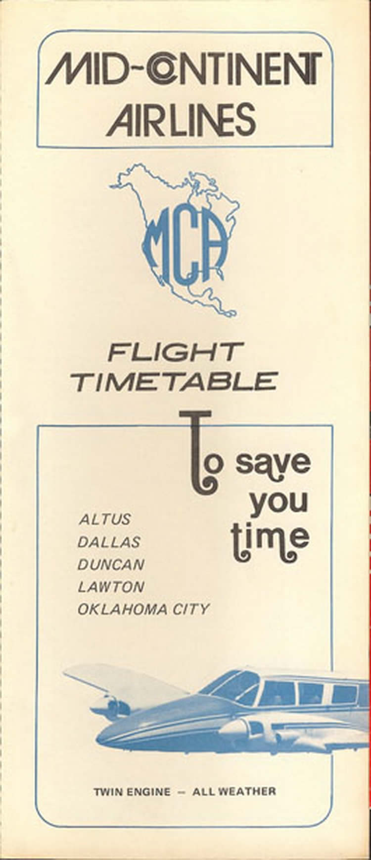 vintage airline timetable for Mid Continent Airlines