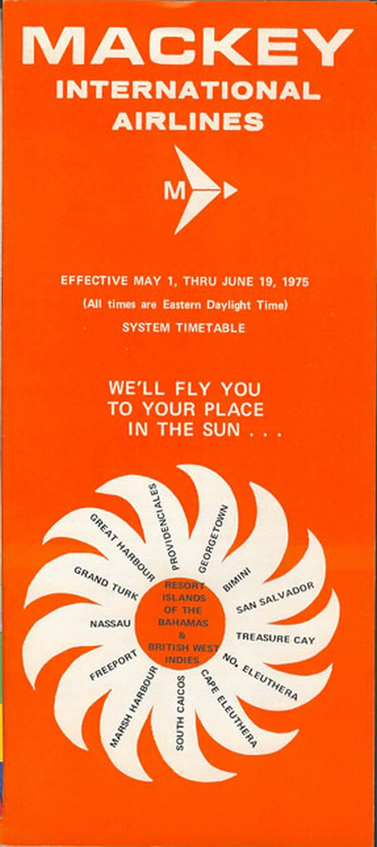 vintage airline timetable for Mackey Airlines